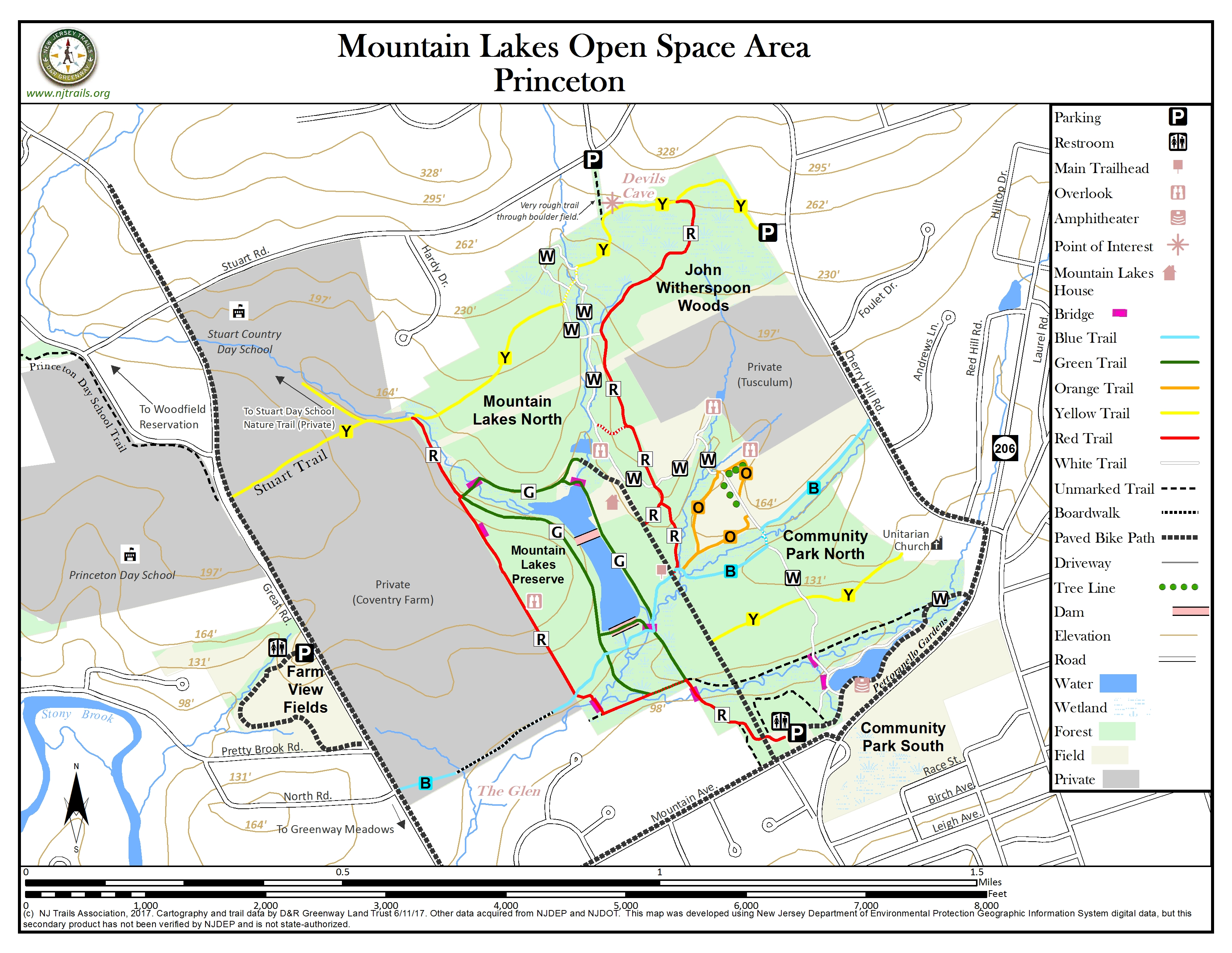 Mountain Lakes Open Space Area New Jersey Trails Association - Princeton new jersey north and southern us map